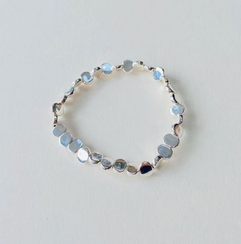 SILVER BEADED STRETCHY BRACELET